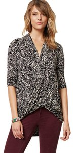 Anthropologie Wrap Effect Top Black and White