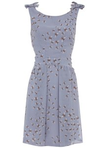 Dorothy Perkins short dress Blue Grey Bee Print Modcloth Anthropologie on Tradesy