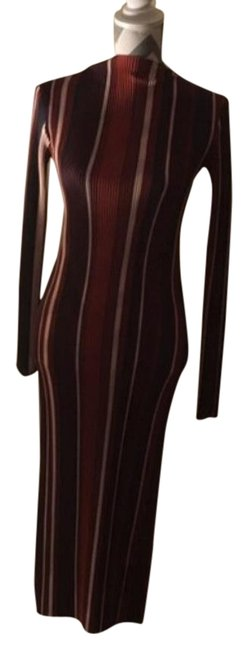 Item - Purple/Red/Rust Striped Pleated Midi Mid-length Night Out Dress Size 6 (S)