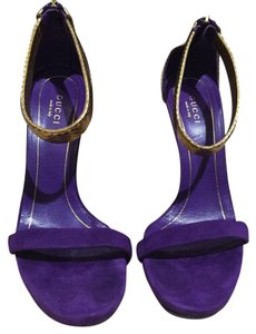 Gucci Suede Leather Open Toe Purple/Gold Pumps