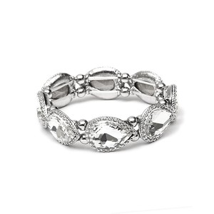 Mariell Silver Textured Frame Crystal Pears Stretch Bracelet