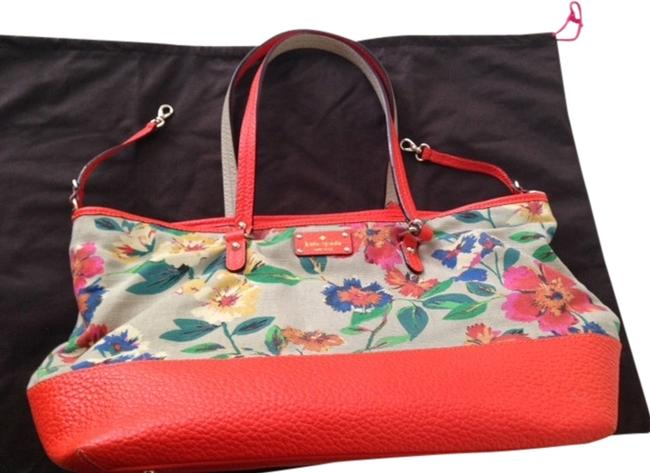 Item - New York Grove Court Harmony Orange/Multi-colored Floral Leather/Canvas Diaper Bag