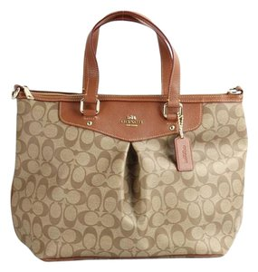 Coach Leather Chic Monogram Canvas Tote in Brown / Khaki
