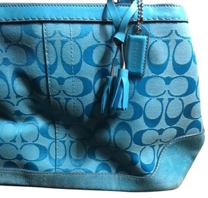 Coach Canvas Leather Suede Satchel in Turquoise