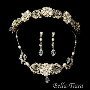 Bella Tiara Gorgeous Vintage Gold Wedding Headband And Jewelry Set