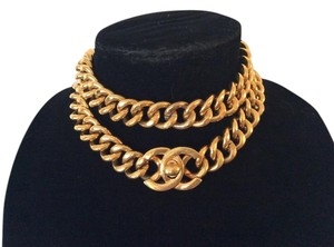 Chanel RARE VINTAGE CHANEL 18k GOLD PLATED CC TURNLOCK BELT/ NECKLACE