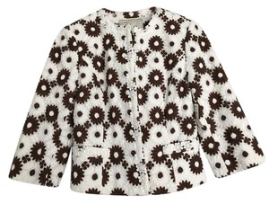 Milly of New York Brown White Cropped Flower Jacket