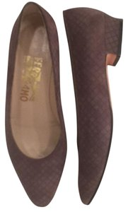 Salvatore Ferragamo Suede Flats Slip Ons Leather Gray Pumps