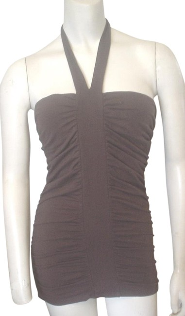 Item - Brown Ruched Front Seams Bodycon Halter Top Size 4 (S)