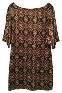 Scoop NYC short dress Brown Ikat Silk Tunic on Tradesy