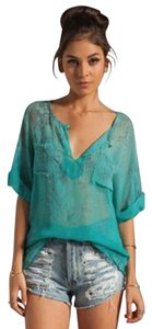 Gypsy05 Hippie Sheer Cover-up Python Top Teal print