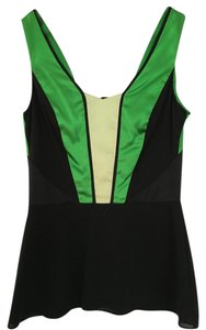 Zac Posen Silk Green Black V-neck Top