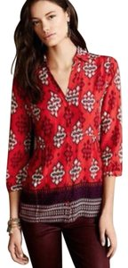 Maeve Tribal Print Indian Hippie Top Red Print