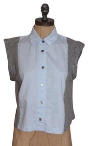 T by Alexander Wang Crop Gray Button Down Shirt BLUE