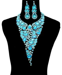 Other Aqua Blue Necklace And Earrings Fashion Statement Set
