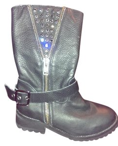 Corral Boots Corral Leather Faux Zipper Black with champayne swavorski crystals Boots