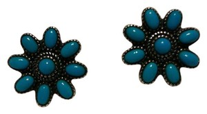 American West Sleeping beauty turquoise button earings in silver