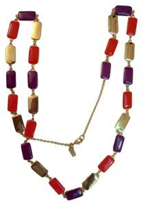 Kate Spade Guell Enamel Tile Long Necklace 12kt Gold Plated Multi-Color Superb!