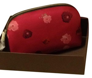 Coach Pink Floral Cosmetic Bag with Double Inside Pockets