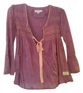 Odd Molly Boho Pintucked Gathered Embroidered Top Purple
