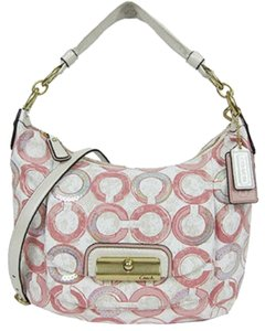 Coach Monogram Sequin Hobo White Tote in Multi Pink Peony