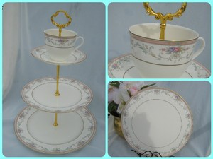 3 Tier Wedding Cake Stand Christopher Stuart China Porcelain 7 In 1