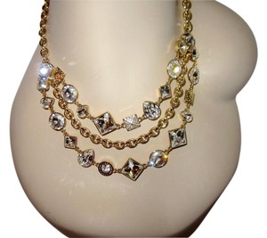Coach Gold Plated Palladium Necklace Crystal Trio Strand Bib Cluster Signed