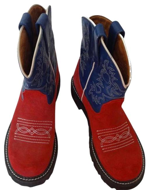 Item - Red/Blue Best Offer/Western/ Boots/Booties Size US 7.5 Regular (M, B)