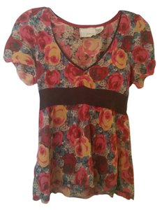 Anthropologie Guinevere Top Red Floral