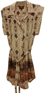 Akiko short dress CREAM/BROWN SNAKE PRINT Silk on Tradesy
