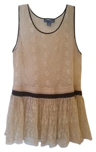 Lil Modcloth Boho Anthropologie Anthro Lace Top Beige lace