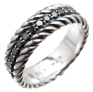 David Yurman Size 11.25, Sterling Silver, Black Diamond, Eternity Band Ring