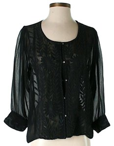 Rory Beca Sheer Floral Lace Detail Top Black