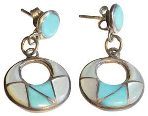 Other Zuni Native American Turquoise Inlay Earrings Sterling