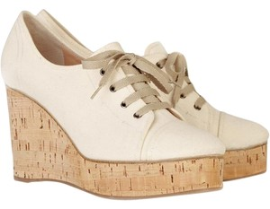 Chlo Canvas Lace-up Cream Wedges
