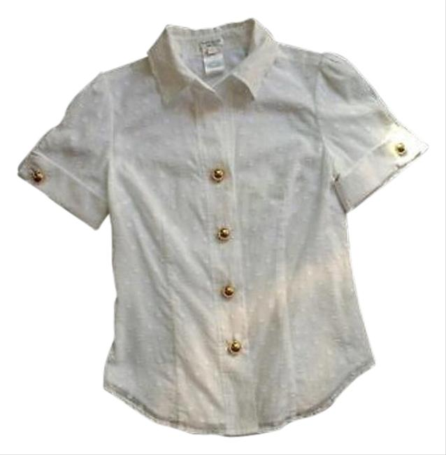 Kate spade white gold button and polka dots button down shirt for Button down polka dot shirt