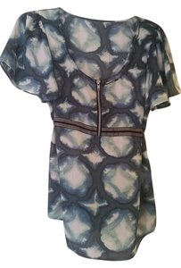 BCBGMAXAZRIA Abstract Tie Dye Zipper Silk Bcbg Top Blue Multi