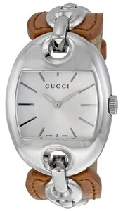 Gucci GUCCI Silver Dial Brown Leather Ladies Watch