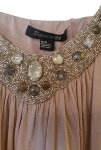 Forever 21 Beaded Embellished Rhinestones Top Mauve Pink
