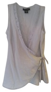 Banana Republic 100% Silk Wrap Lace Top Blue Gray