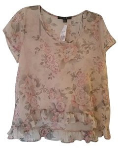 Forever 21 Floral Boho Anthropologie Chiffon Modcloth Top Floral Pink