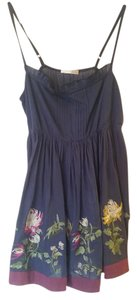 Matty M short dress Blue Floral Embroidered Boho Anthropologie Modcloth Vintage on Tradesy
