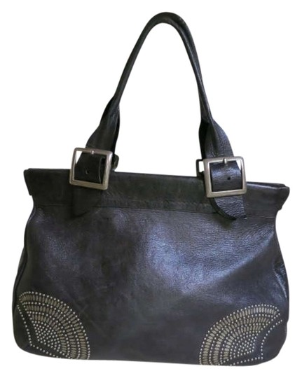 Calleen Cordero Studded Distressed Made In Usa Satchel in black