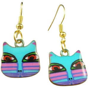 Other NEW Artistic Blue + Gold Cat Drop Earrings
