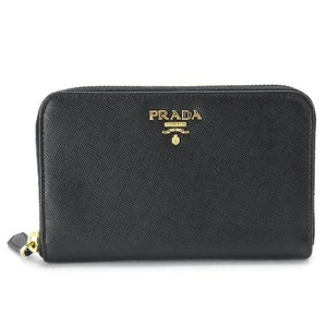 Prada Prada Metal Oro Black Saffiano Small Zip Around Wallet