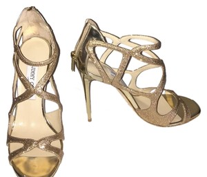 Jimmy Choo Leslie Gold Metallic Strappy Open Toe Heels 38 1/2 fits USA size 8 Sparkle Gold Formal