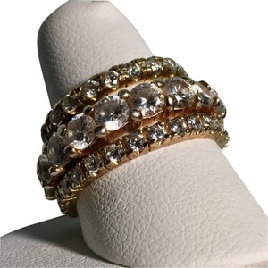 Anthropologie Cubic Zirconia 925 Sterling Silver Eternity Ring Set