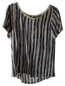 infinty Striped White Silky Top blue