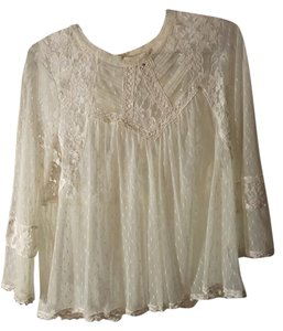 Free People Lace Sheer Top off white