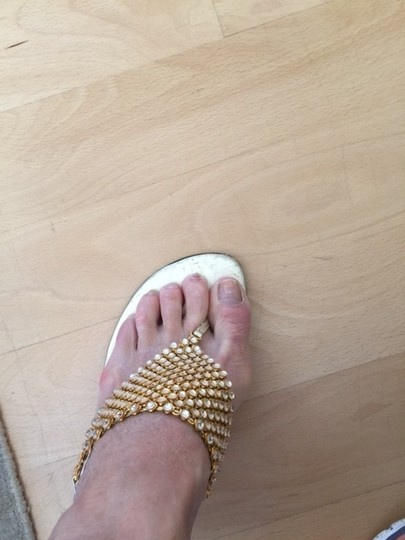 Stuart Weitzman gold with crystal inlays Formal
